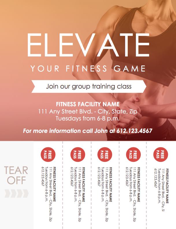 personal training class flyer template microsoft word file diy