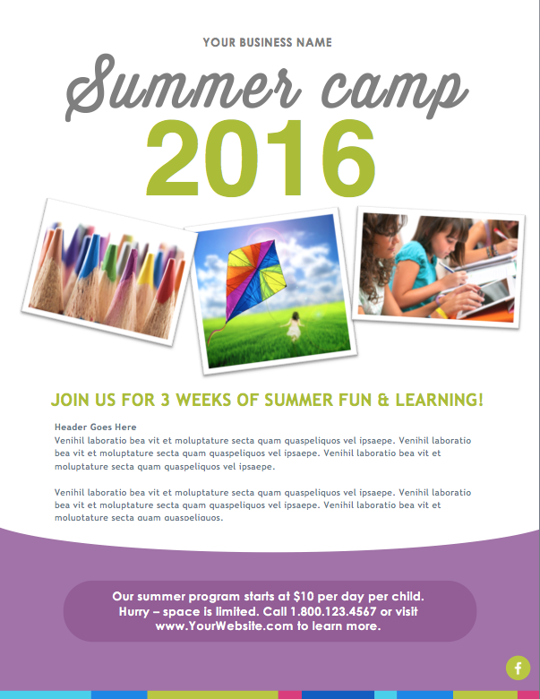 Summer Camp Flyer Template Microsoft Word File DIY Design – Summer Camp Flyer Template