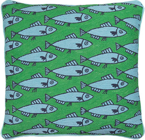 Anchovies Green Cushion by Luke Edward Hall