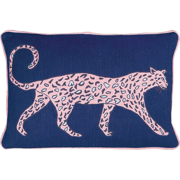 Leopard Cobalt Cushion by Luke Edward Hall
