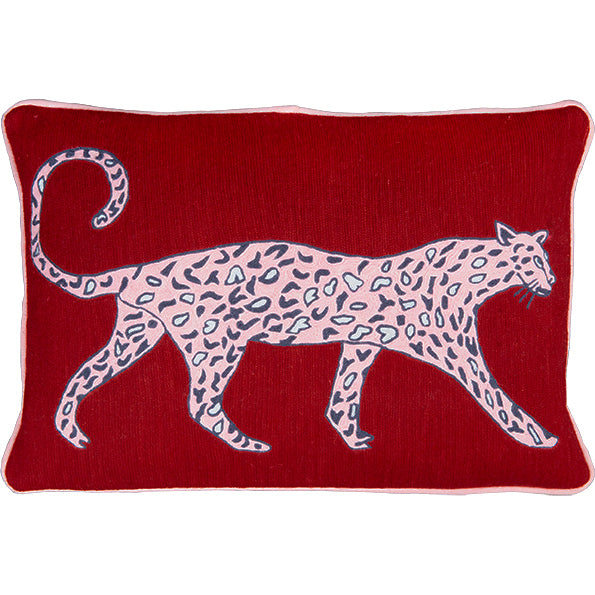 Leopard Ruby Cushion by Luke Edward Hall