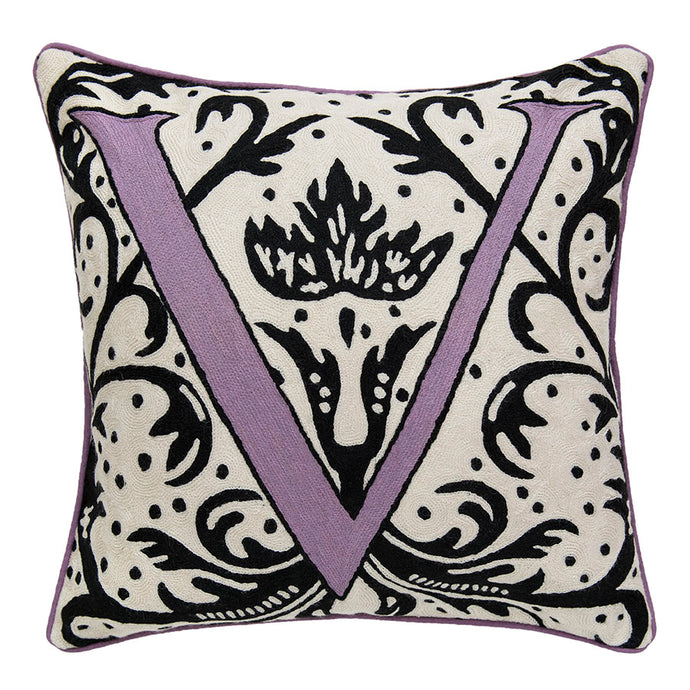 Alphabet V Cushion by Sue Timney