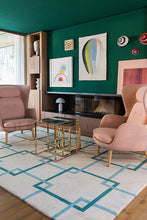 Load image into Gallery viewer, Square Chains Teal by The Rug Company