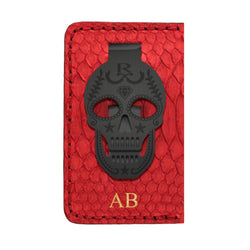 RAYAL RED SNAKE SKIN CARD HOLDER WITH BLACK EDITION MONEY CLIP
