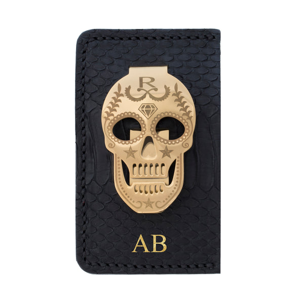 Rayal Black Snake Skin Card Holder with Money Clip
