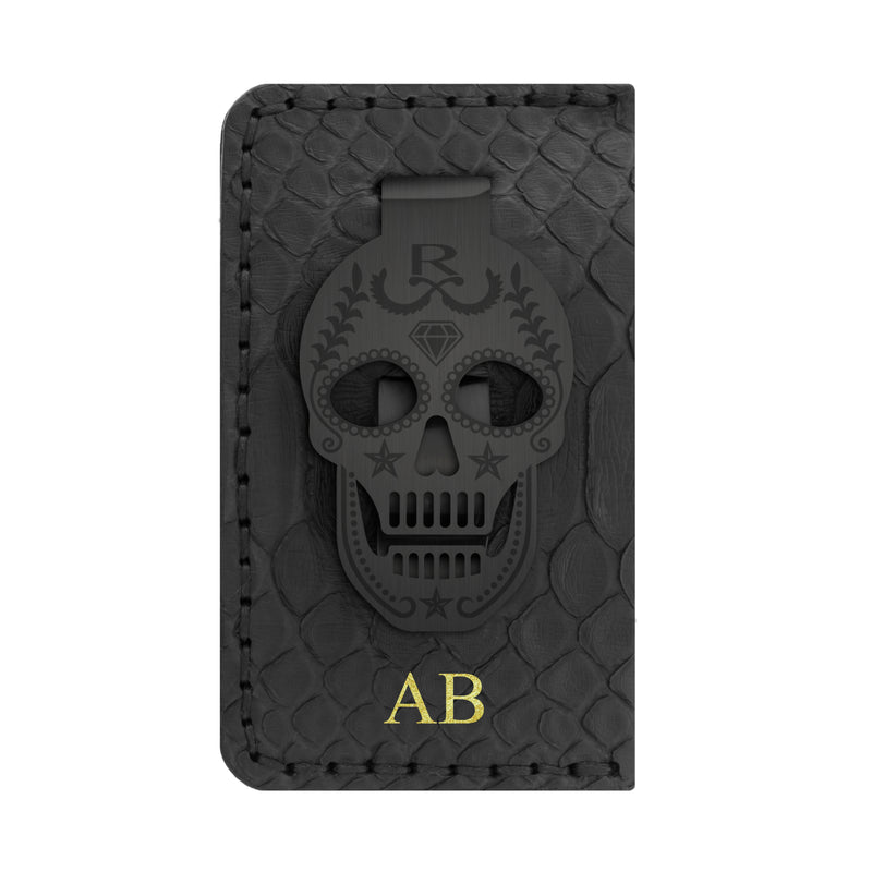 BLACK EDITION - Rayal Snake Skin Card Holder With Money Clip
