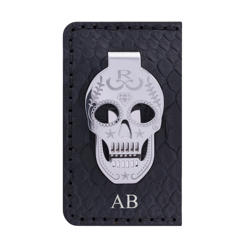 Rayal Black Snake Skin Card Holder with Silver Money Clip