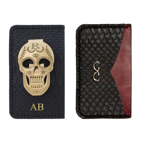 Black Snake Skin Card Holder with Money Clip - Red Middle Pocket