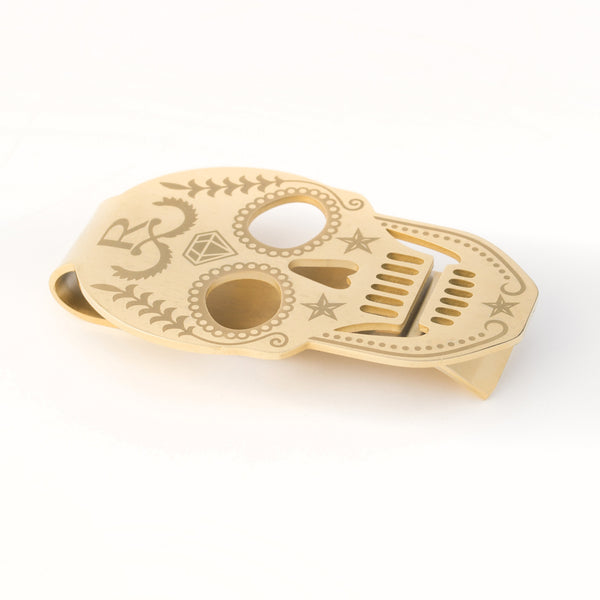 Rayal Gold Plated Skull Money Clip