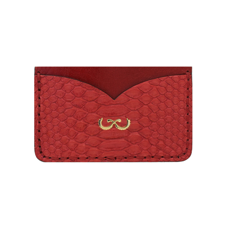Rayal Red Snake Skin Card Holder with Money Clip