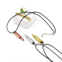 Counter Strike Leather Chain Bullet Pendant Necklace - Abrahama.com
