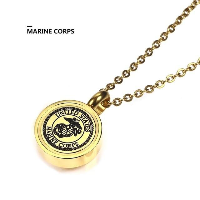 Gold US Army,USMC Navy,Air Force,Police Officer Memorial Pendant Necklace-Stainless Steel