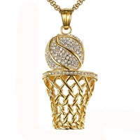 Hip Hop Iced Out Basketball Entering Frame Pendant Necklace-Stainless Steel - gold.archi
