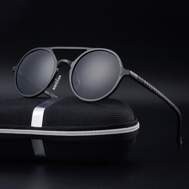 Men Sunglasses Polarized Vintage Round Frame Aluminum Magnesium Alloy Celebrities Glasses
