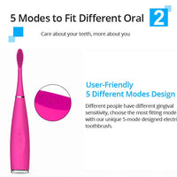 Pink Electric Sonic Silicone Toothbrush Teeth Whitening Device - Abrahama