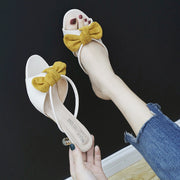 Mules Women Shoes Platform Peep Toe Bow Knot - gold.archi