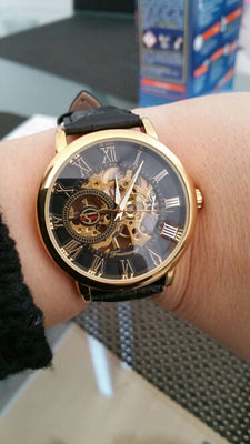 Fashion Men Black Gold Case Leather Skeleton Mechanical Watch - gold.archi