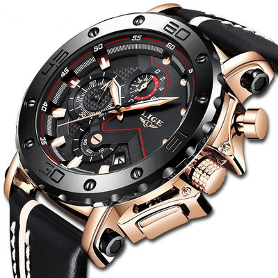 New Mens Watches  Luxury Big Dial Military Quartz Watch Leather Waterproof Sport - gold.archi