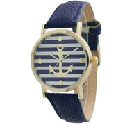 NAVY Anchor Leather Watch - Navy BLUE - gold.archi