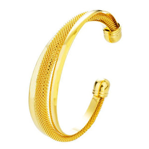 Pure 24K Gold Plated Jewelry Bracelets Open Knot Cuff Wire Weave Shape For Women Elegant