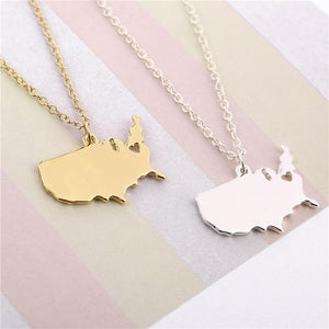 USA MapNecklace Gold/Silver Necklace - gold.archi