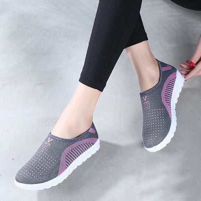 Women Active-ware Shoe Patchwork Slip-on Cotton Fabric Top - Abrahama