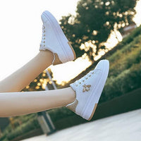 Women Casual Shoes Sneakers Breathable Leather Platform Soft White - Abrahama