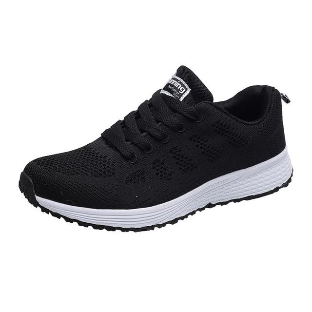 Women Fashion Mesh Round Cross Straps Flat Sneakers Running Shoes - Abrahama