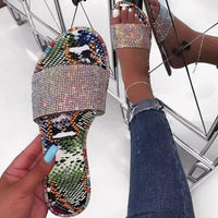Women Rhinestone Colored Slippers Flip Flop - Abrahama