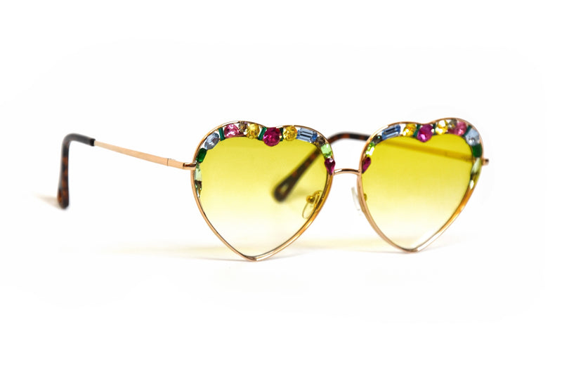 Crystal Heart shaped Yellow sunglasses