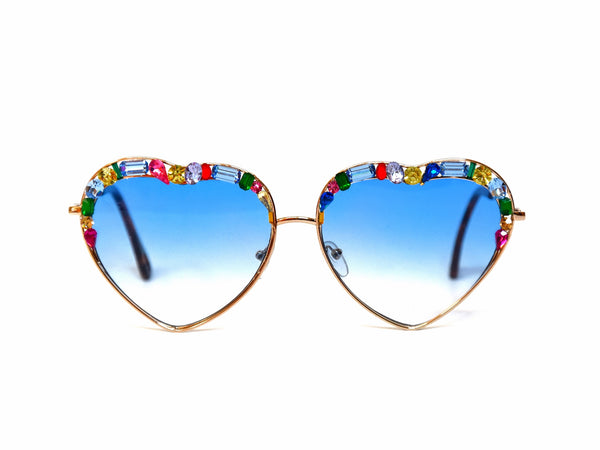 Crystal Heart shaped Blue sunglasses