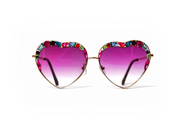 Crystal Heart shaped Hot Pink sunglasses