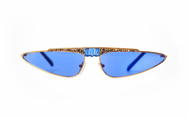 Cat eye BlUE crystal sunglasses