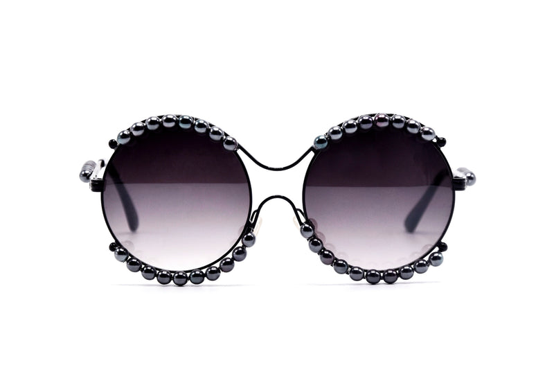 Black Round Pearl Sunglasses