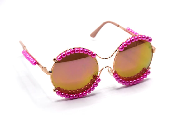 Pink Round Pearl Sunglasses