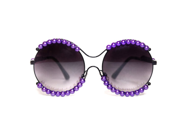 Purple Round Pearl Sunglasses