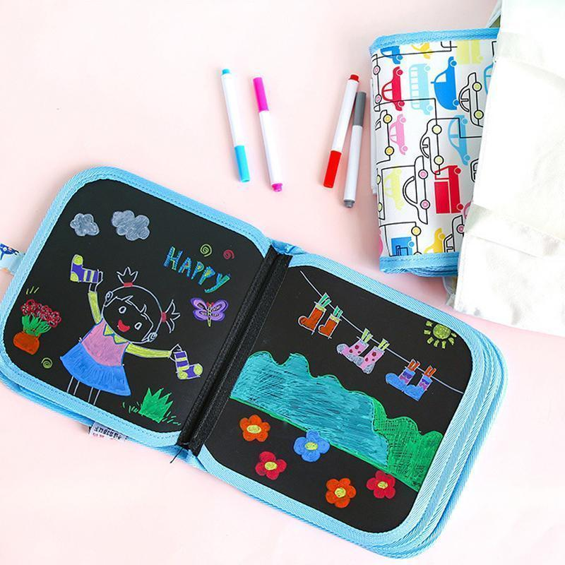 Portable Erasable Doodle Pad Drawing Pad (12 Pens Included)