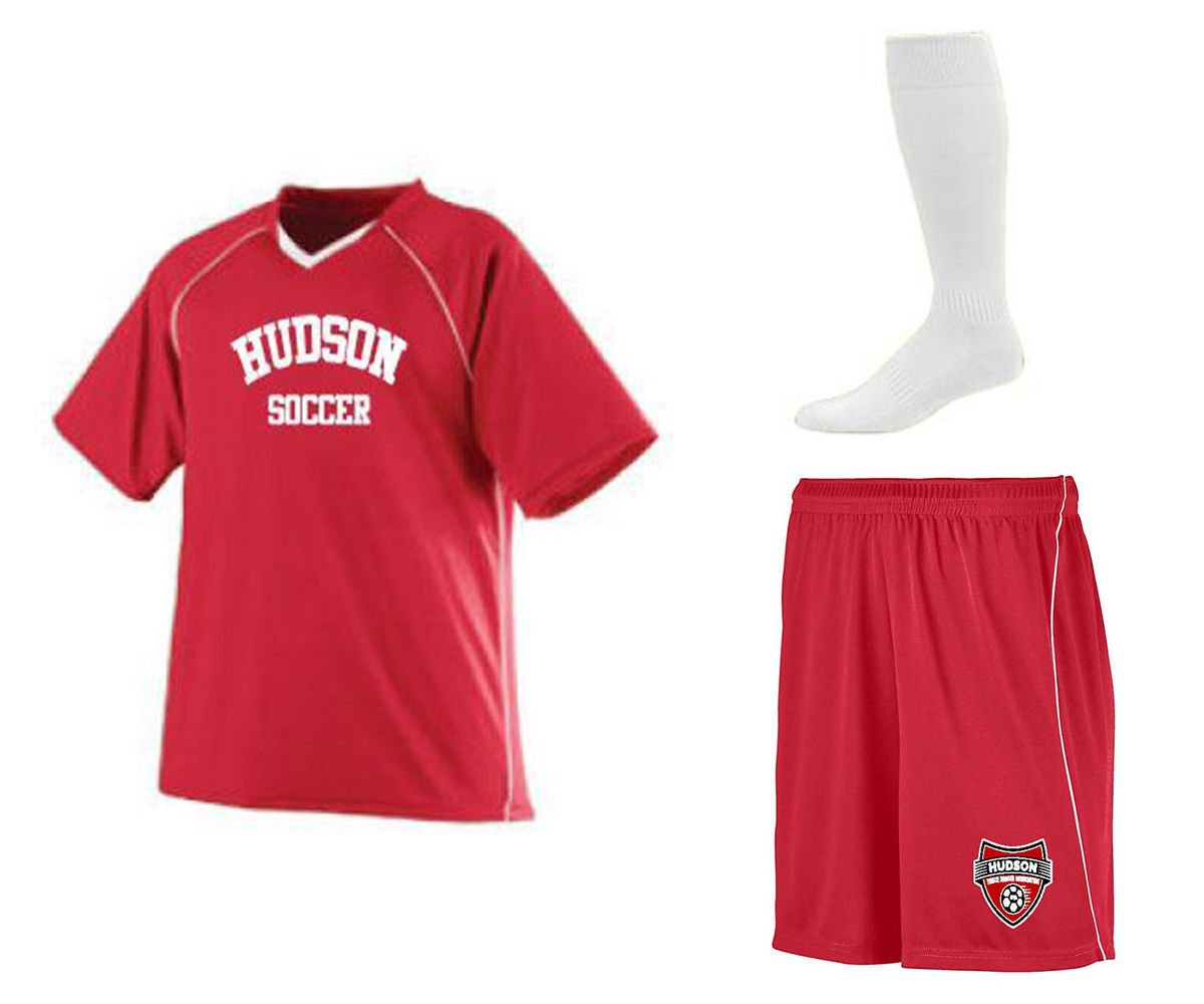 Hudson Soccer Player Package which includes Hudson Jersey, Hudson Shorts, and socks.