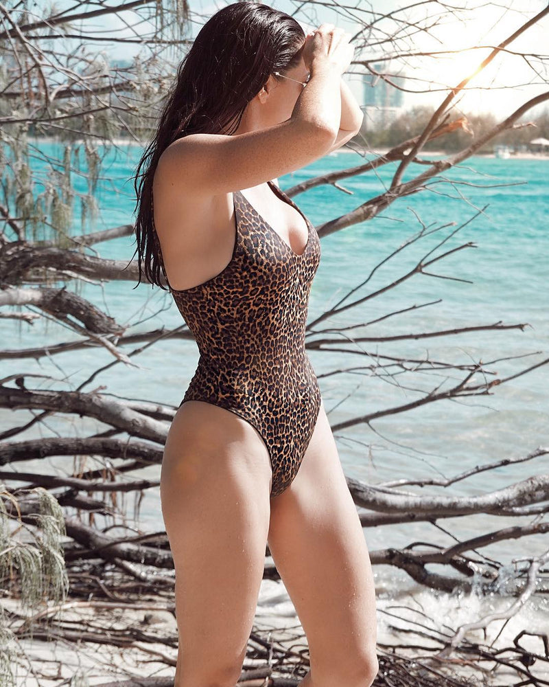 Byron Maillot - Leopard -One Piece- White Sands Swimwear by Leah Madden