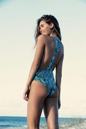 Veronica in Blue Viper -Maillot- White Sands Australian Designer Swimwear