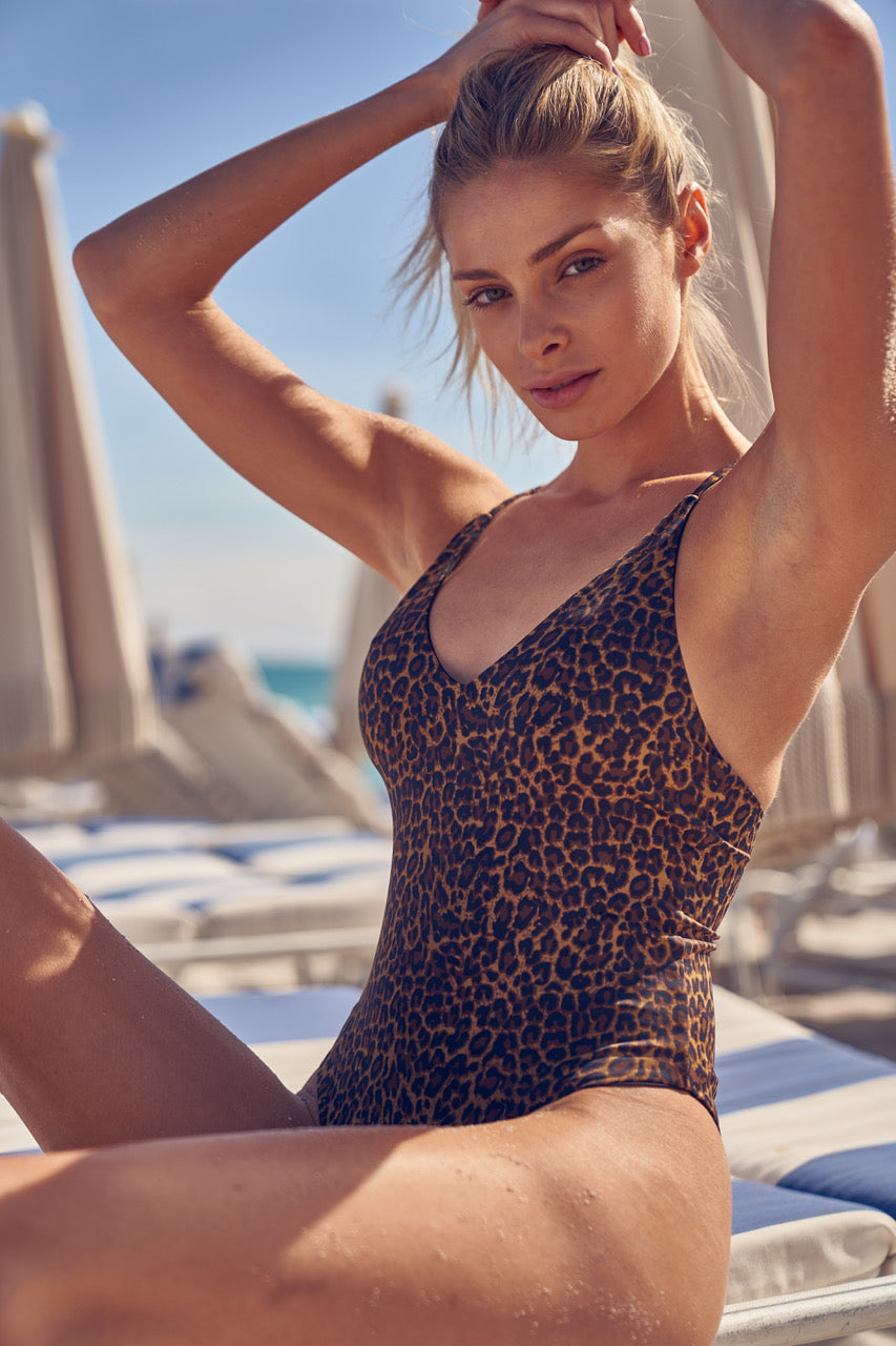 Byron Maillot - Leopard -One Piece- White Sands Swim by Leah Madden