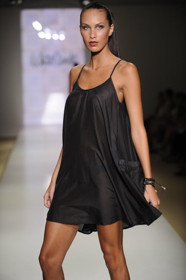 Silk Voile Dress - Black -Resortwear- White Sands Swimwear by Leah Madden
