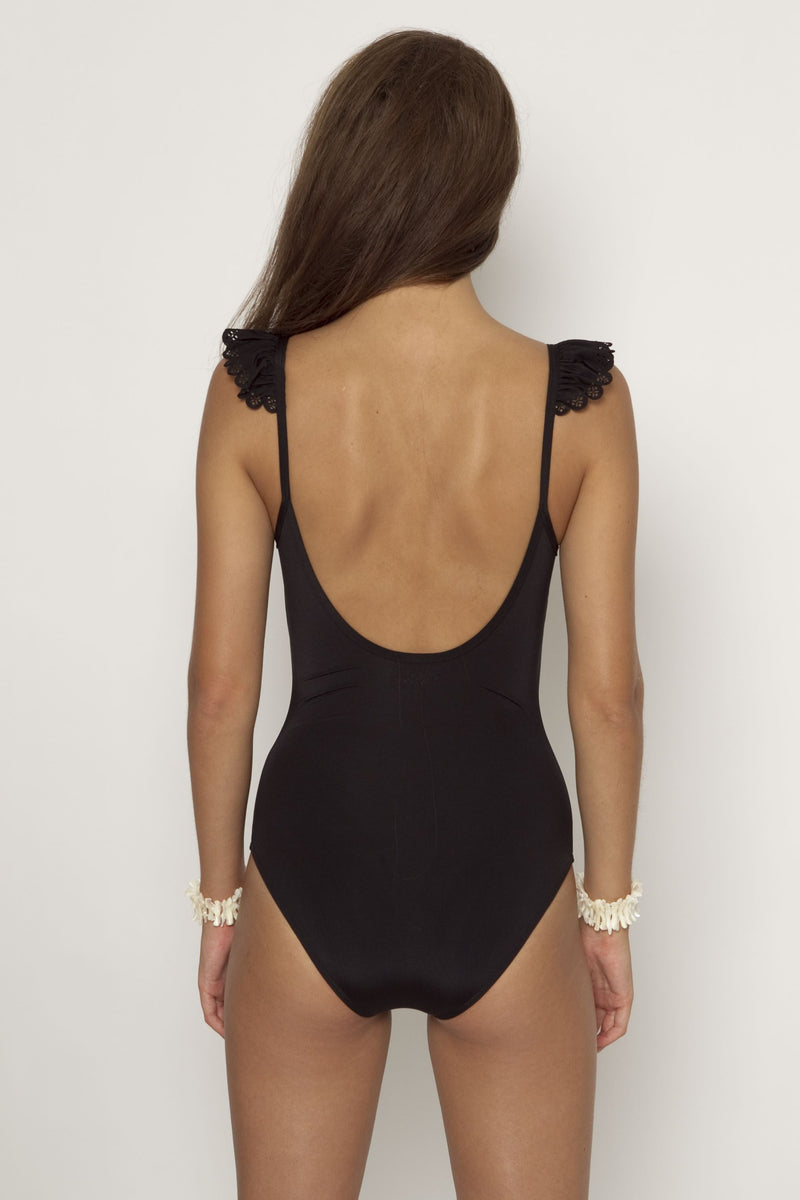 Scoop Neck Maillot with Sleeve Cap - Black -One piece- White Sands Australian Designer Swimwear
