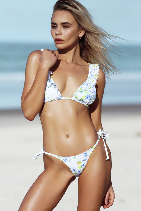 Lou Lou Top - Clematis Print -Bikini- White Sands Swimwear by Leah Madden