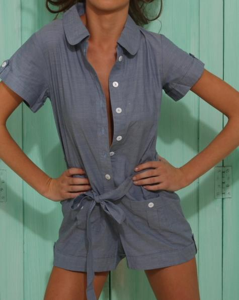 Chambray Playsuit -Clothing- White Sands Swimwear by Leah Madden