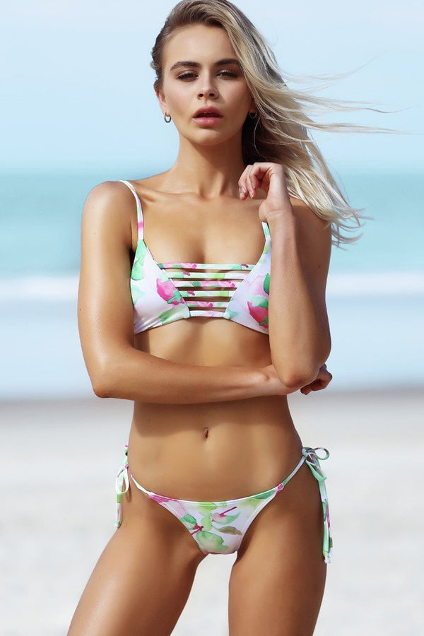 Avril Top - Waterlily Print -Bikini- White Sands Swimwear by Leah Madden