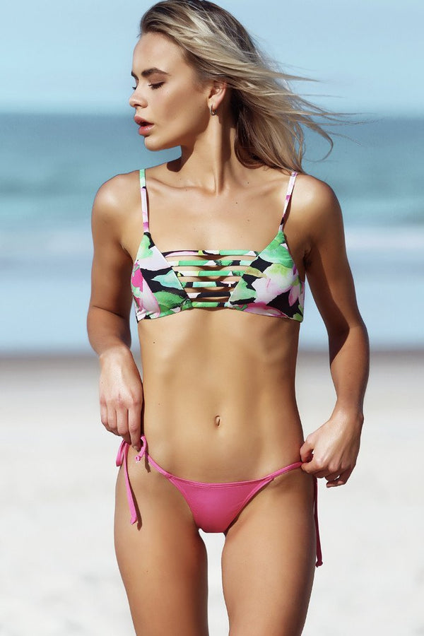 Avril Top - Nightlily Print -Bikini- White Sands Swimwear by Leah Madden