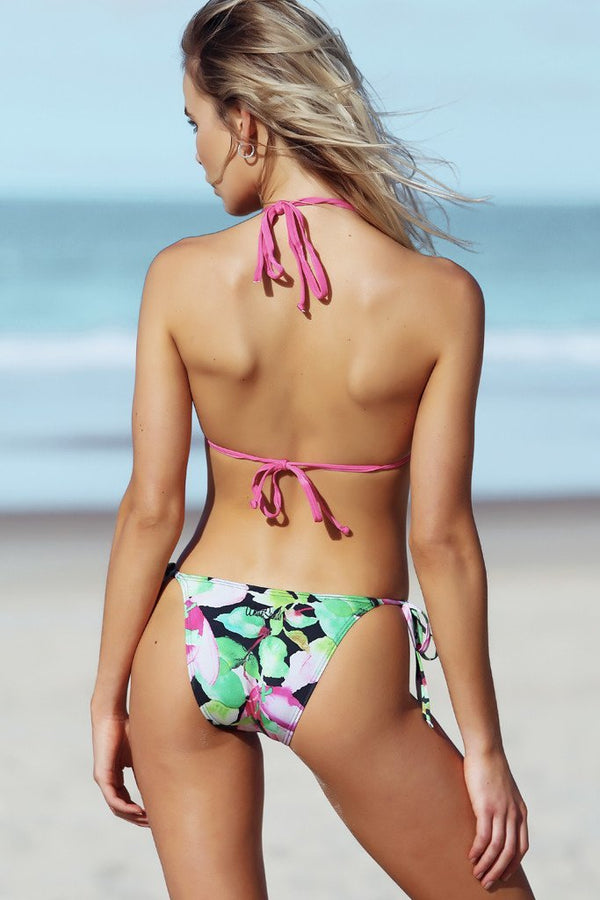 Micro Tri Pant - Nightlily Print -Bikini- White Sands Swimwear by Leah Madden