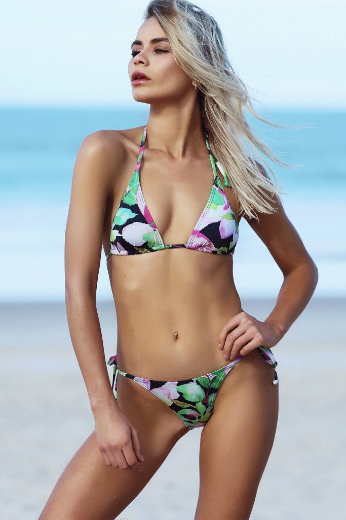 Micro Tri Top - Nightlily Print - Bikini - White Sands Swimwear Australian Cheeky Bikinis  - 1