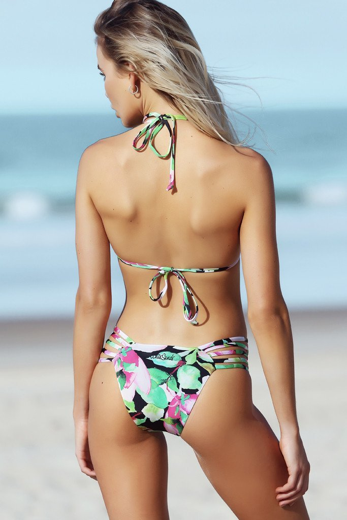 Avril Pant - Nightlily Print - Bikini - White Sands Swimwear Australian Cheeky Bikinis  - 1